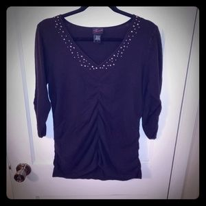 Torrid- Black Sweater w/Ruching and Accents, Sz 1